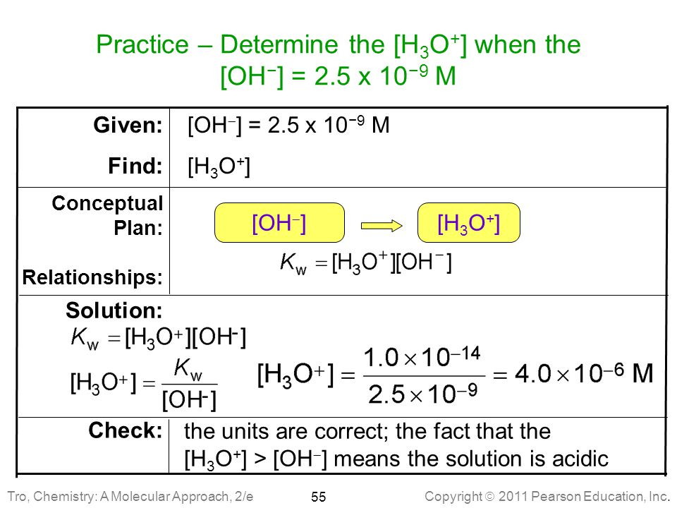 Practice – Determine the [H3O+] when the [OH−] = 2.5 x 10−9 M